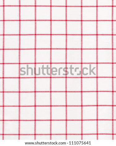 Texture red striped on white fabric - stock photo