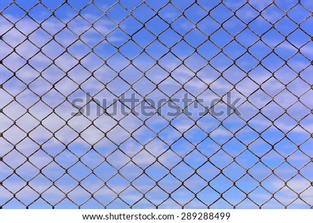 Texture the cage metal net isolate on blue sky background