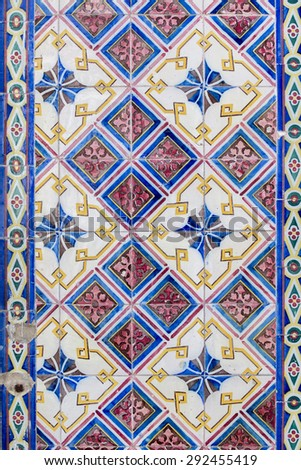 Texture view of a pattern of portuguese ceramic azulejo tiles. - stock photo