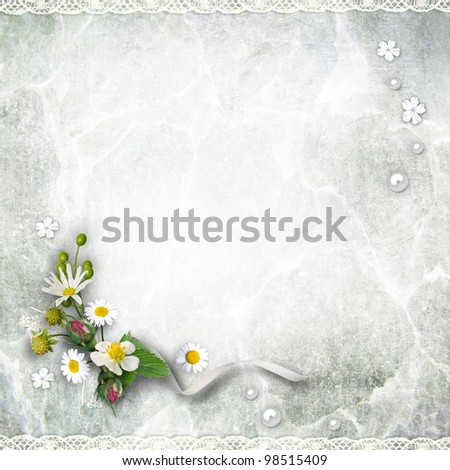 Texture vintage background with flowers. Page to design photo books