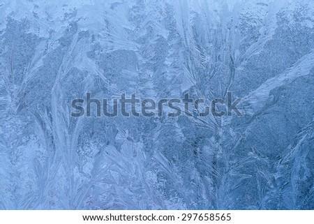 Texture with ice window frozen - stock photo
