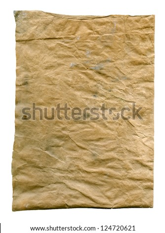 Textured aged dirty grainy crumpled paper isolated - stock photo
