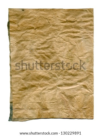 Textured aged dirty obsolete crumpled paper isolated - stock photo
