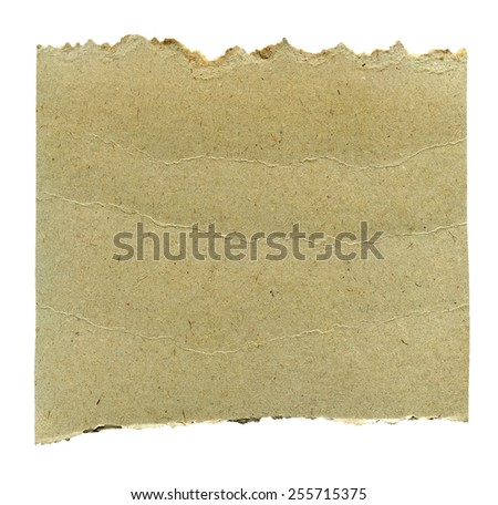 Textured aged torn recycled paper card isolated - stock photo