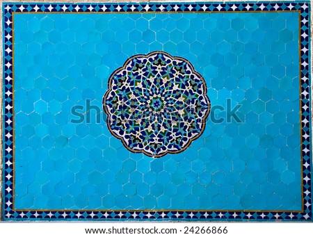 textured ancient blue tiles - stock photo