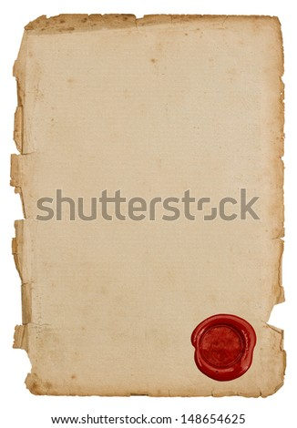 textured antique paper sheet with red wax seal isolated on white background - stock photo