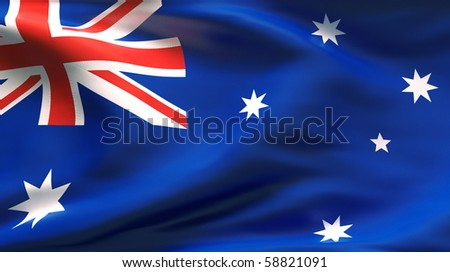 Textured AUSTRALIAN  cotton flag with wrinkles and seams - stock photo