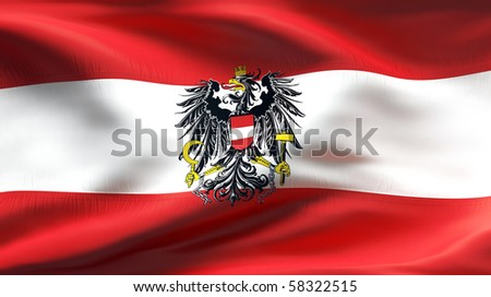 Textured AUSTRIAN eagle cotton flag with wrinkles and seams - stock photo