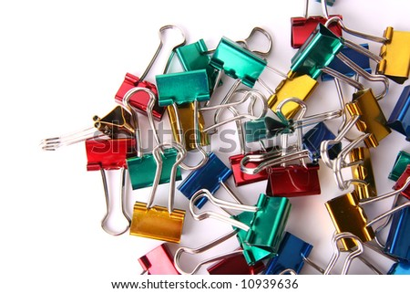 textured background of colored paper clips - stock photo
