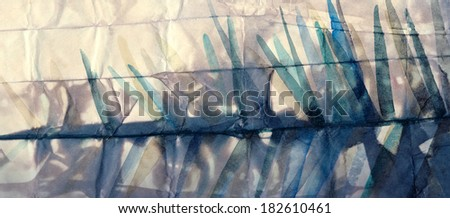 Textured background of toned crumpled paper with sharp strokes watercolor painting  - stock photo