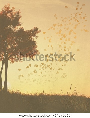 Textured background paper with faded autumn (fall) trees and leaves suitable for cards, designs, scrapbooking, wallpapers and websites with copyspace for designs or text