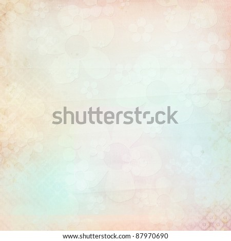 Textured background with cut  flowes in cyan, pink, beige - stock photo