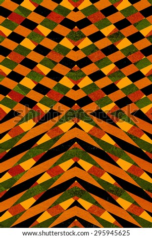 Textured black and orange striped arrows background - stock photo
