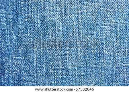 Textured blue jeans denim linen fabric background - stock photo