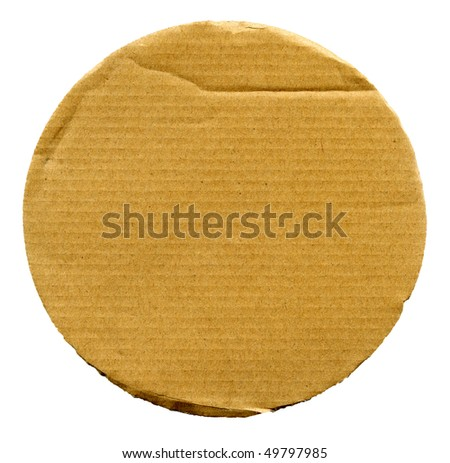 Textured cardboard circle with torn edges isolated over white - stock photo