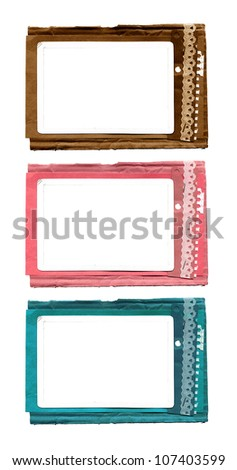 Textured cardboard frame with rough edges isolated over white - stock photo