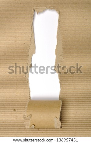Textured cardboard with torn edges isolated over white - stock photo
