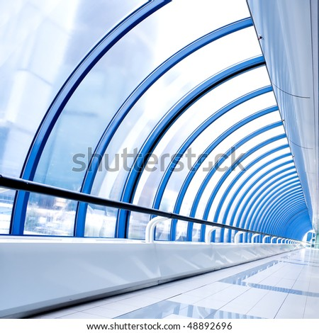 textured ceiling inside airport - stock photo