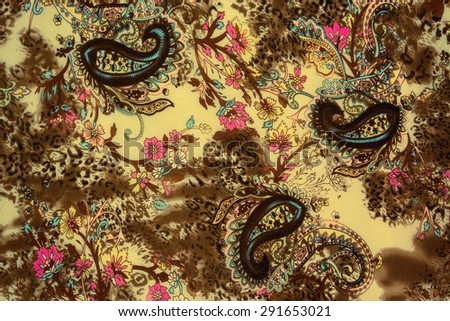 Textured chintz floral, leopard and paisley, black and white background - stock photo