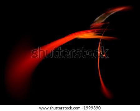 Textured 3D Red Streak on Black Background - stock photo