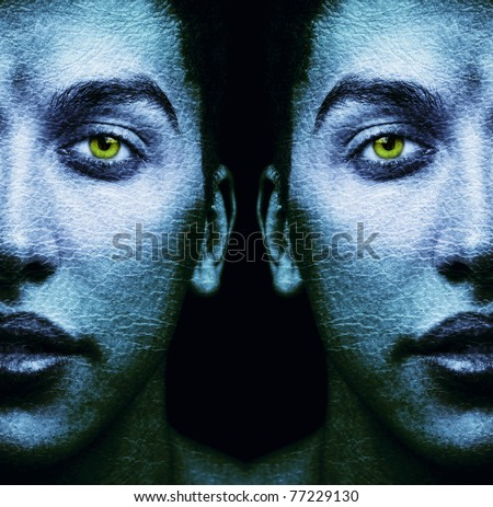 Textured faces of surreal male twins over black