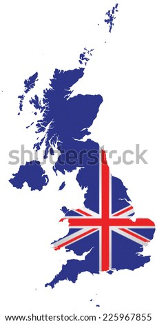 Textured flag of the United Kingdom of Great Britain and Northern Ireland overlaid on outline map isolated on white background  - stock photo