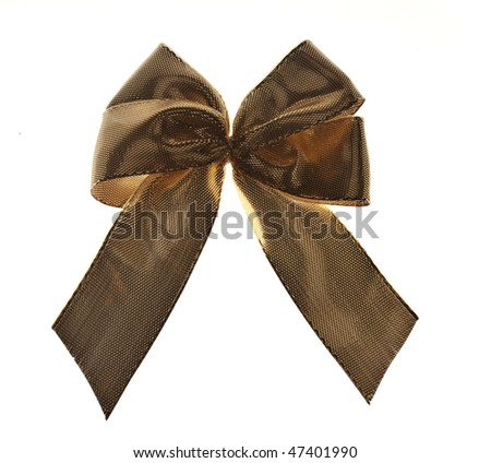 Textured Golden bow tie isolated on white