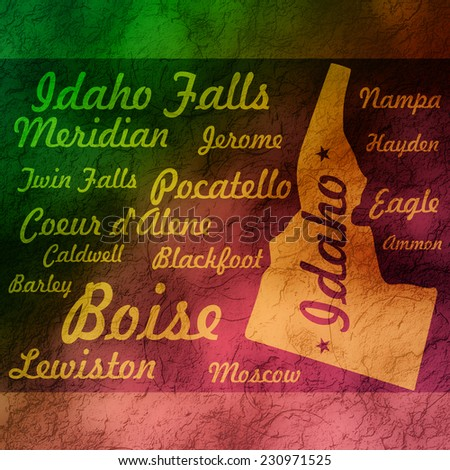 textured gradient outline idaho state map with cities names - stock photo