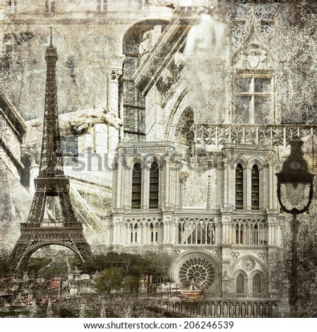 Textured grunge paper background with Paris architecture vintage style - stock photo