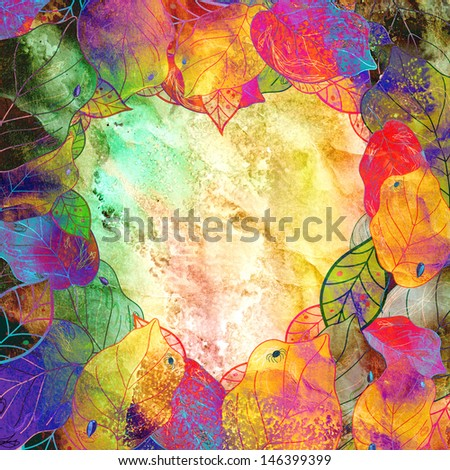 textured heart and autumn colorful leaves - stock photo