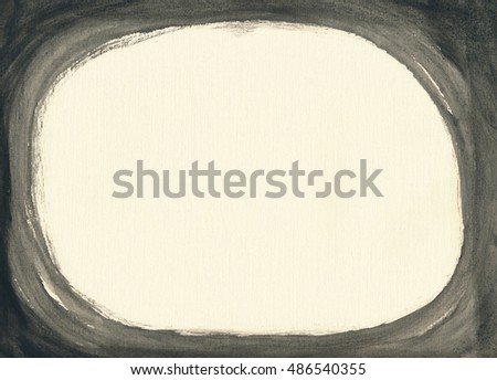 Textured ivory paper sheet painted black from all sides, creating horizontal oval copy space inside dark frame.
