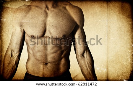 Textured male bodybuilder background - stock photo