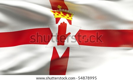 Textured NORTHERN IRELAND  cotton flag with wrinkles and seams - stock photo