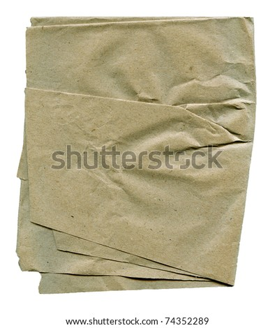 Textured obsolete crumpled packaging brown paper isolated - stock photo