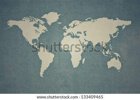 textured of world map in vintage style - stock photo