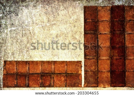 Textured old grange paper background with vintage books - stock photo