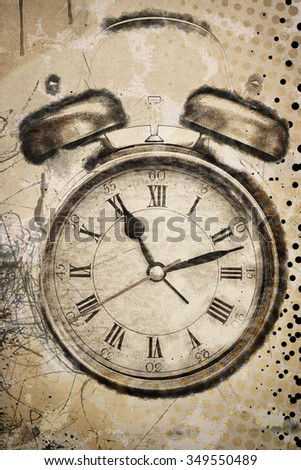 textured old paper background with alarm clock - stock photo