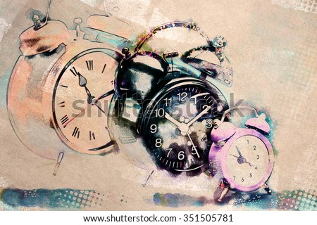 textured old paper background with alarm clock
