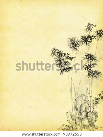 textured old paper background with bamboo - stock photo