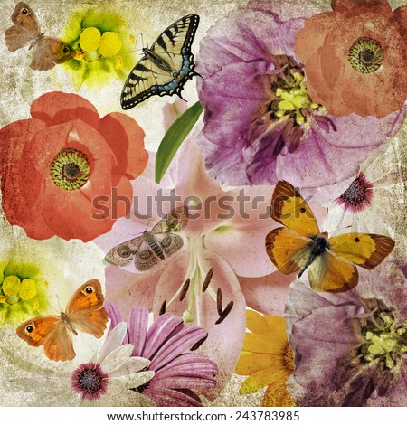 Textured old paper background with beautiful flowers and butterflies. Flower texture abstract background. Nature abstract background