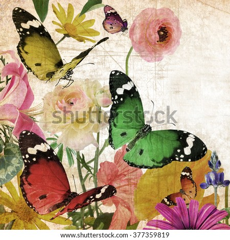 Textured old paper background with beautiful flowers and butterflies. Nature abstract background with copy space - stock photo