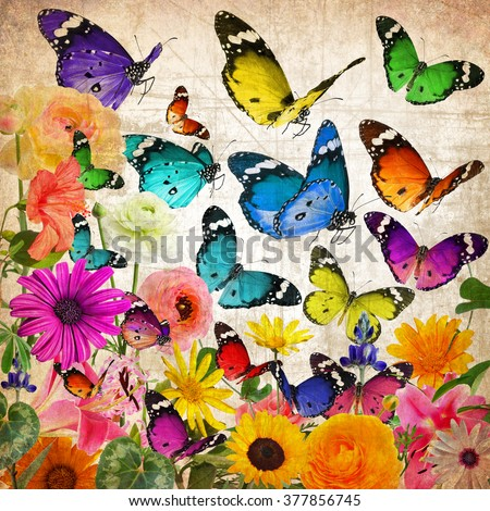Textured old paper background with beautiful flowers and butterflies. Nature abstract background