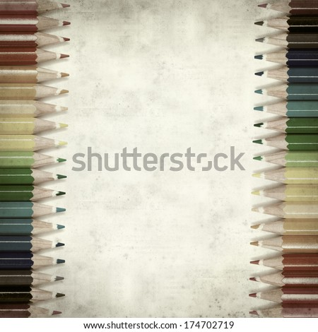 textured old paper background with color pencils
