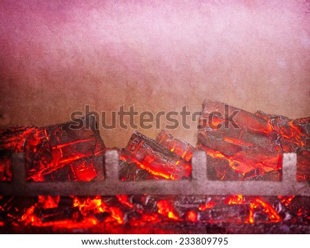 textured old paper background with fire place - stock photo