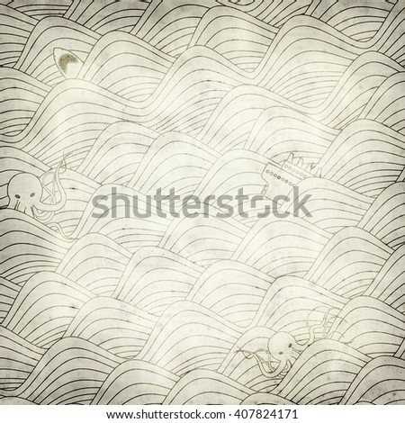 textured old paper background with stormy sea illustration