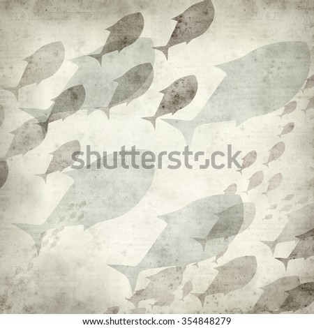 textured old paper background with swimming fish illustration - stock photo