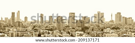 Textured old paper background with Tel-Aviv city panoramic view (Israel)  - stock photo