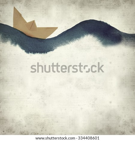 textured old paper background with watercolor waves and paper boat - stock photo