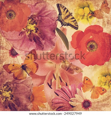Textured old paper blurry background with beautiful flowers and butterflies in magic light. Flower texture abstract background. Nature abstract background