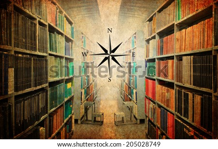 Textured old vintage paper style background with old library and wind rose  - stock photo